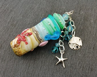 Sterling Silver, Lampwork Glass Ocean Beach Vessel, Aromatherapy, Amphora Jar with Cork Lid, Swarovski Crystals