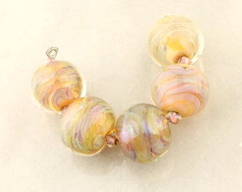 Lampwork Glass Bead Set Iridescent Pink, Peach, Lavender,  Blue, Chunky Beads