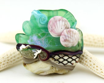 Lampwork Glass Focal Bead Etched Matte  Ocean Beach Ivory Turquoise 'Oceanic 2'