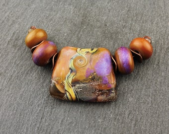 Lampwork Glass Beads Set, Pendant Focal, Top Drilled,  Brown, Purple, Silver