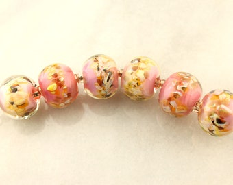 Lampwork Glass Bead Set Iridescent Pink, Peach, Green, Gold
