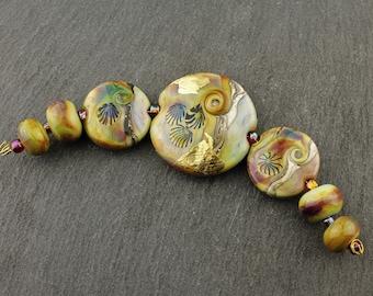 Lampwork Beads Set Glass, Focal Green, Gold Leaf, Blue, Purple