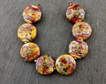 Lampwork Glass Beads, Autumn Fire Lentil Set, 18mm