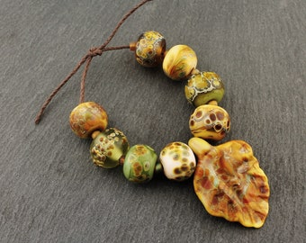 Lampwork Glass Beads Set, Matte Etched Rustic Organic Brown, Blue, Green, with Autumn Leaf