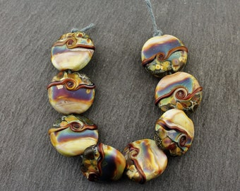 Lampwork Glass Beads, Lentil Set, Green,  Blue, Purple