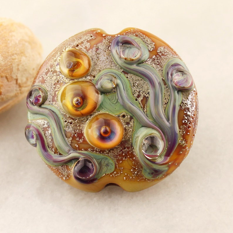 Bead Embroidery Pin Purple Pink Beaded Brooch with Lampwork Cabochon