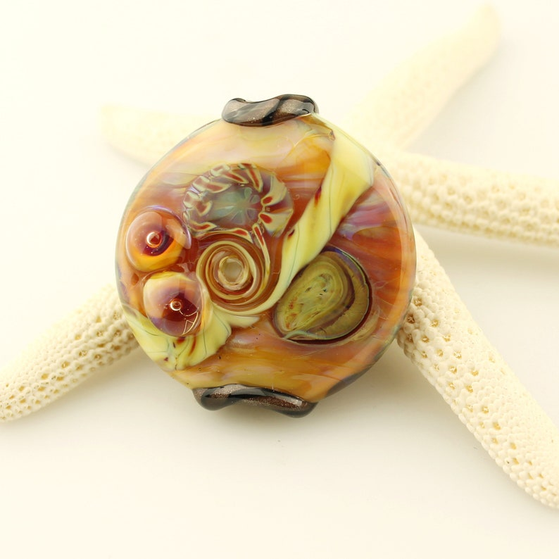 Green  Brown  Blue Spotted Art Bead Hat Pin 5 Inches Handmade Lampwork Glass Beads