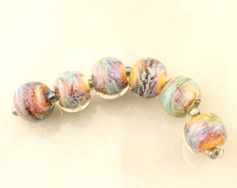 Lampwork Glass Bead Set Iridescent Purple, Green, Lavender, Blue, Chunky Beads