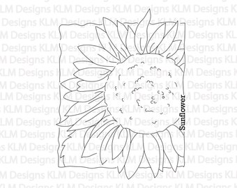 Sunflower Windowpane-Black & White Digital Stamp, Clip Art, Paper Crafting, Stamps, Stamping Supplies