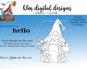 Spring Gnome-Black & White Digital Stamp, Clip Art, Paper Crafting, Stamps, Stamping Supplies