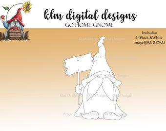 Go home Gnome - Black & White Digital Stamp, Clip Art, Paper Crafting, Stamps, Stamping Supplies