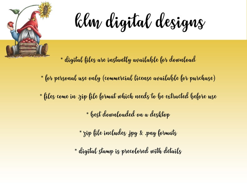 Card Making Supplies KLM Digital Designs Digital Stamps Clip Art Colored 4th of July Gnome Gnome Clip art Paper Crafts