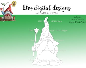 Wizard Gnome-Black & White Digital Stamp, Clip Art, Paper Crafting, Stamps, Stamping Supplies