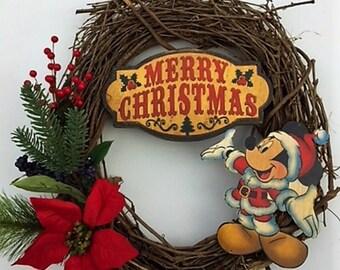 merry christmas wreath santa mickey mouse wreath mickey mouse christmas wreath santa mickeymickey mouse wreath mickey mouse door hanger - Mickey Mouse Christmas Wreath