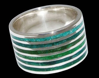 925 Solid Sterling Mosaic Green Forest ring - ALL SIZES