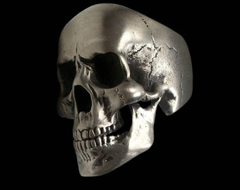 Skull ring - Sterling Silver Anatomical Skull Ring with Jaw