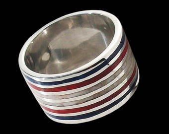 925 Solid Sterling Mosaic Nautical Colors ring - ALL SIZES