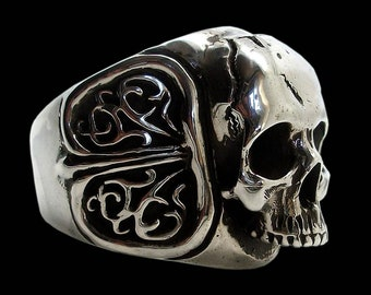 c2c6590b3969 Skull ring - Sterling Silver Skull Ring Flourishes - ALL SIZES