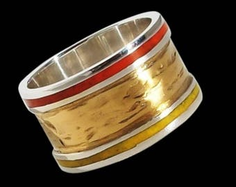 925 Solid Sterling Mosaic Golden Autumn ring with 24k Gold Plating- ALL SIZES
