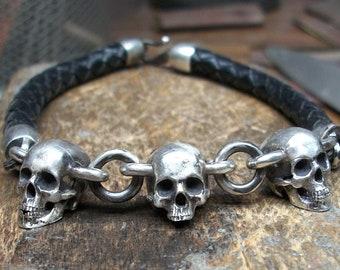 c7b81100da2 Skull Bracelet - Sterling Silver Leather skull bracelet chain
