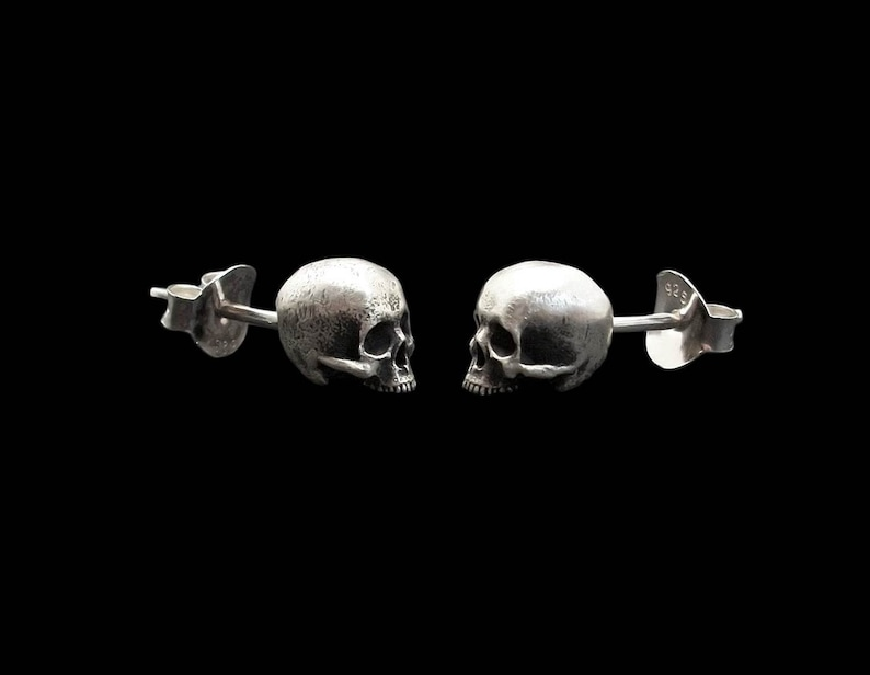 Skull Earrings  Sterling Silver Stud Skull Earrings  Love to image 0