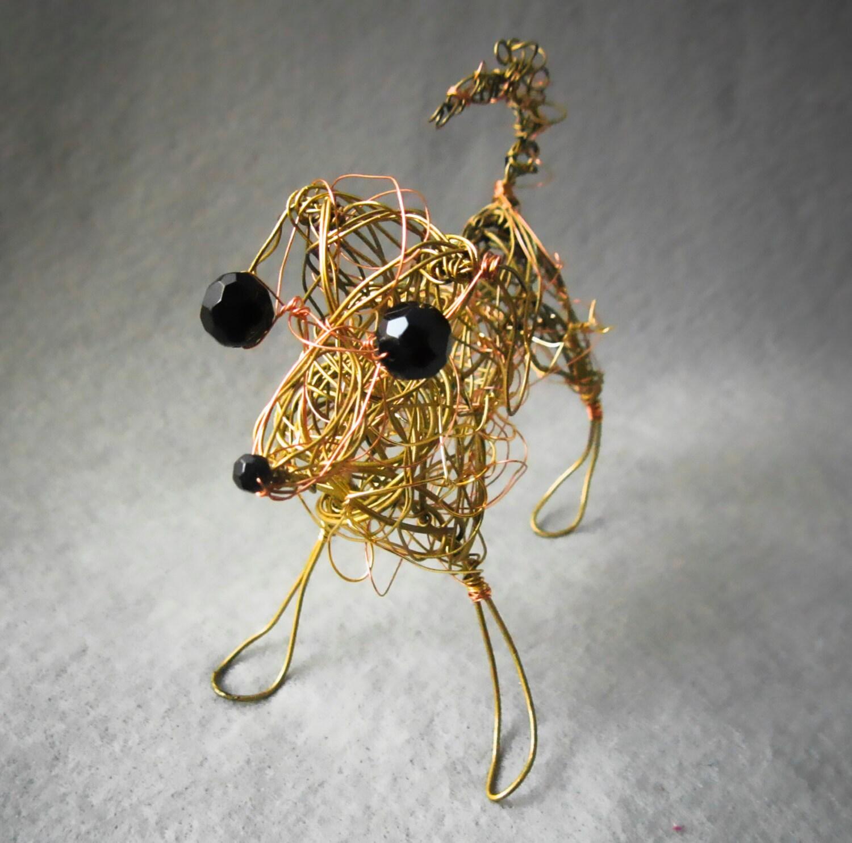 Yellow Labrador Retriever Hund Kunst Draht-Skulptur 3D