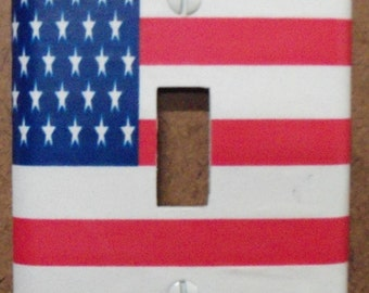 American Flag single switch plate cover - free shipping - 1002USA