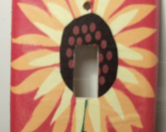 sunflower-orange background single switch plate cover - free shipping - 1005NTR