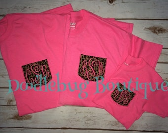 Neon pink leopard pocket tees