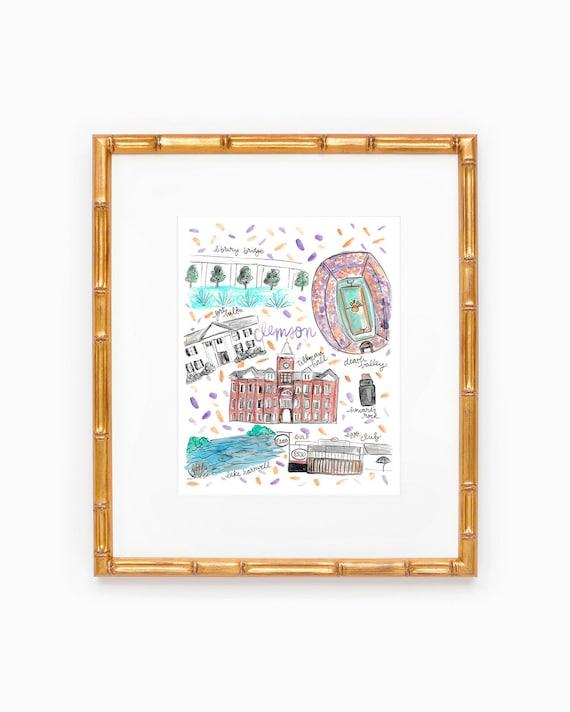 Clemson University Map Print Etsy