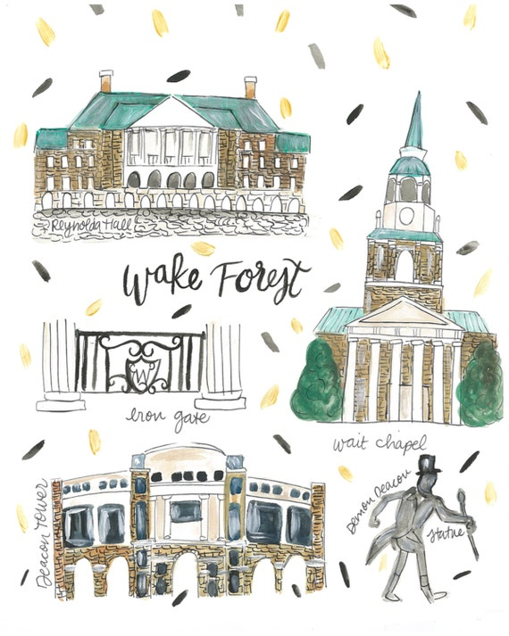 Wake Forest University Map Print | Etsy