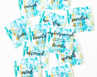 Body Acceptance Affirmations (set of 10 cards)