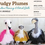 Pudgy Plumes Ostrich, Vulture and Flamingo Dolls Soft Toys Sewing Pattern and Tutorial