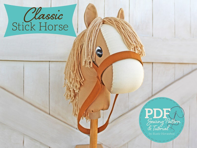 Classic Stick Horse Sewing Pattern and Tutorial  Beginner image 0