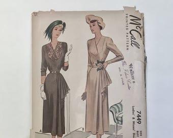 Vintage 1940's Cocktail Dress Pattern, McCalls Pattern 7449 Rare Plus Size - Bust 40 - Long Sleeve Swing Era Dress With Cascading Hip Drape