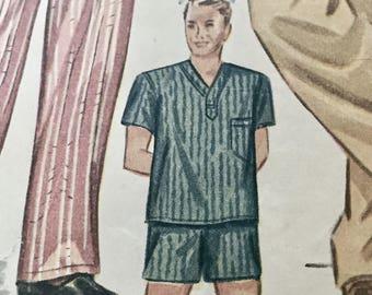 ABirdOfParadise Presents A Vintage 1940's Simplicity Pattern 2207 For Mens Long or Short Pajamas Set -  Size Medium - Chest 38-40