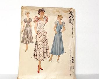Vintage 1940's Dress Or Pinafore Pattern, McCalls Pattern 7904 - Bust 30 - Short Ruffled Sleeve Swing Era Dress