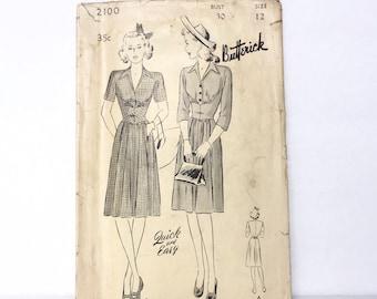 Vintage 1930s Butterick Pattern 2100 - One Piece Frock Dress Pattern  Rare - Size 12 - Bust 30 - Hip 33.5