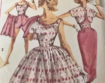 "Vintage 1950s Simplicity Pattern 2072 Juniors Summer Wardrobe Patterns for 2 Skirts, Sleeveless Blouse, Bolero - 31.5"" Bust"