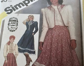 Vintage 1982 Gunne Sax Jessica Dress Simplicity Pattern 5491 Coat, Blouse, Skirt Patterns - Boho Hippy Western Look - Size 6 - Bust 30.5 In