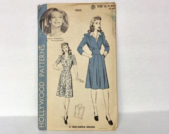 Vintage 1940s Hollywood Patterns 1022 - Featuring Martha O'Driscoll Inspired Day Dress And Dickey Patterns - Size 12 - Bust 30 Inches