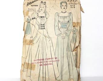 Vintage 1930s Advance Pattern 2313 - Evening Dress Or Dance Dress Pattern  Rare - Size 12 - Bust 30 - Incomplete