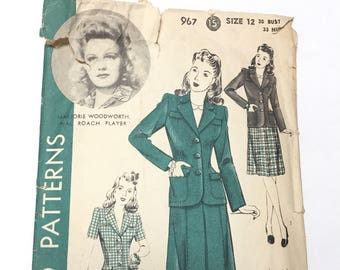 Vintage 1940s Hollywood Patterns 967 Featuring Marorie Woodworth Inspired Fitted Jacket And Skirt Patterns - Size 12 - Incomplete