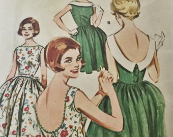 """Vintage 1960s Butterick Pattern 9752 Scooped Back Summer Dress Patterns For 2 Styles of Sleeveless Dresses - 32"""" Bust"""