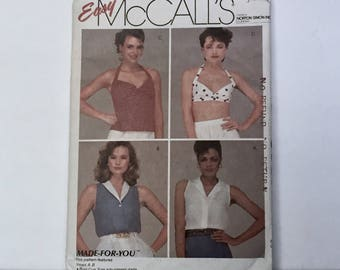 Vintage 1980s McCalls Pattern 8587 -  Rockabilly Pin Up Crop Top Bra and Sleeveless Blouse Pattern  - Misses Size Small Bust 36 inches