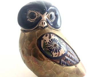 Vintage 1970s Tonala Mexican Folk Art Large Owl Ceramic Stoneware Bird With Brass And Copper