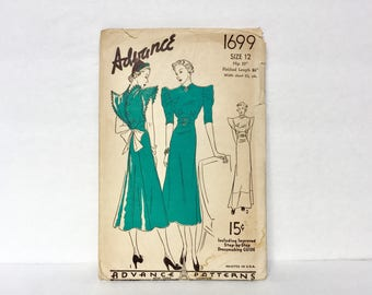 Vintage 1930s Advance Pattern 1699 - Cocktail Dress Or Glam Gown Pattern  Rare - Size 12 - Hip 33.5 - Incomplete