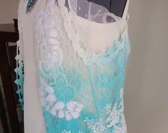 73b1449a503 aqua lace vest, all lace waistcoat, handmade top, hand dyed, art to wear,