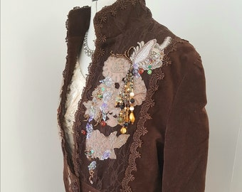 upcycled brown velvet jacket, couture clothing, hand embroidered, applique beads,