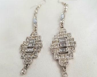MAGNIFICENT wedding earrings for pierced ears art deco edwardian look bridal jewellery